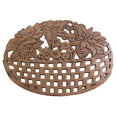 Old Dutch Design Copper Plated Cast Iron Trivet 1983 Basket