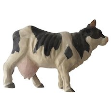 Vintage Hand Carved Folk Art Cow Painted