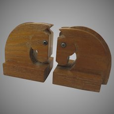 Vintage Pair Bookends Horse Heads Deco