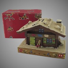 Vintage Made in Austria Trick Bank in Shape of Chalet Snow Covered Original Box