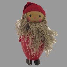 Vintage Mid Century Sweden Swedish Wooden Gnome Elf
