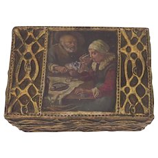 Vintage Paper Mache Wood Raised Gilt Box with Paper 18th Century Scene