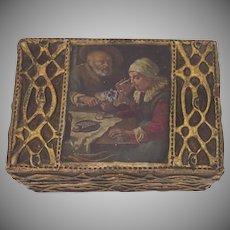 Vintage Paper Mache Wood Raised Gilt Box with Paper 18th Century Scene
