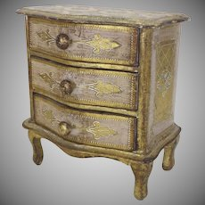 Vintage Florentine Miniature Chest Dresser Jewelry Box
