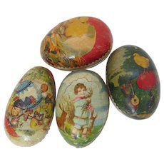 Four (4) 19th Century German Papier Mache Easter Eggs Candy Containers