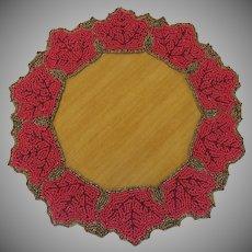 Vintage Festive Beaded Wreath Doilie Centerpiece