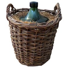 French 1900's Demijohn Bottle in Woven Grape Vine Basket
