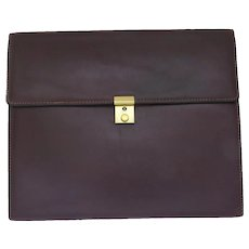 "Rich Brown Leather ""Kirk"" Portfolio Cover Case Lock and Key"