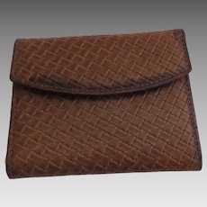 Vintage Leather Lady Bosca Card Holder Snap Closure