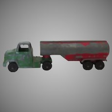 Vintage Oil Tanker Semi Toy Truck Painted by Tootsietoy