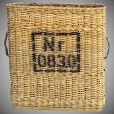 Vintage Wicker Basket Ammunition Narrow Handles Storage Country