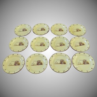 12 x Enamel Plates Monterrey Western Ware Chuck Wagon Chuckwagon Cattle Brands