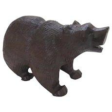 """Vintage Large Ironwood Carved Bear 12"""" Long"""