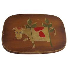Vintage Hand Painted Cow Country Kitchen Wall Folk Art
