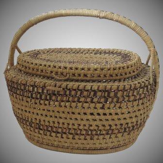 Vintage Handmade Oak Wicket Oval Market Picnic Basket with Lid