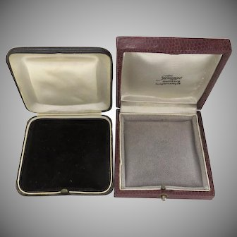 Two Vintage Jewelry Presentation Boxes Snap Closure