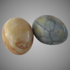 Two (2) Vintage Marble Eggs Flat Bottom