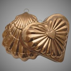 Two (2) Copper Old Dutch Made in Portugal Vintage Food Jello Molds Shell Heart