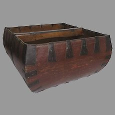 1900's Chinese Primitive Rice Square Bucket Wood Iron