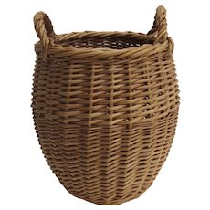 Vintage Tall Basket Two Handles Wine Caddy