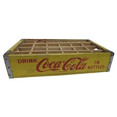 Vintage Coca Cola Coke Painted Yellow Red Wooden Crate Chattanooga