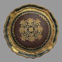 Vintage Large Florentine Italy Painted Gilt Tray Round