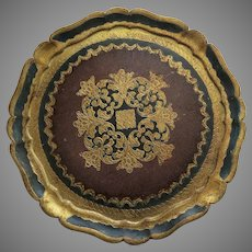 Vintage Large Florentine Italy Painted Gilt Tray Round
