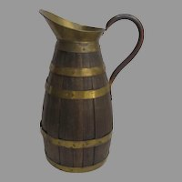 1900's French Oak and Brass Coopered Ewer Beer Cider Pitcher Coopered Country Kitchen