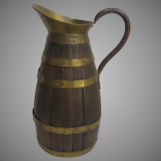 1900's French Oak and Brass Coopered Ewer Beer Cider Pitcher