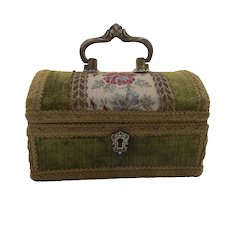 Vintage Brocade and Velvet Jewelry Treasure Box with Top Handle Made in Italy