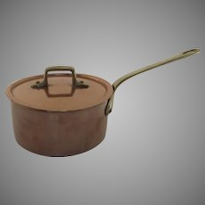 Vintage Copper Saucepan and Lid Tin Lined Brass Riveted Handle