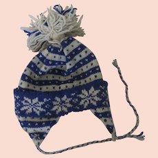 True Vintage Hand Knit Stocking Cap Hat Snowboard Pom Pom 1970's Prop Display