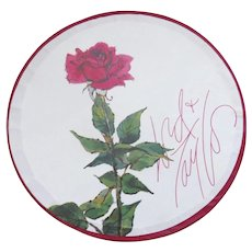 """Vintage Lord & Taylor Department Store Red Rose Hat Box 8"""" Diameter"""