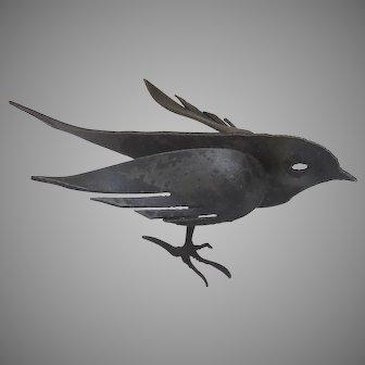 Vintage Sheet Metal Sculpture of Bird Standing