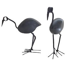 Vintage Stone Iron Standing Bird Sculptures Two (2)  Soap Stone Scrap Metal Bird Statue – Handmade from Zimbabwe