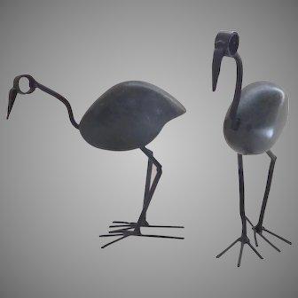 Vintage Stone Iron Standing Bird Sculptures Two (2)  Soap Stone Scrap Metal Bird Statue – Handmade from Zimbabwe