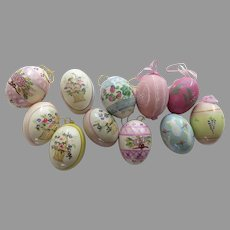 Vintage Group of 11 Hand Painted Eggs Easter