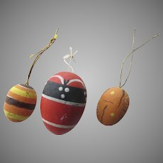 Vintage Miniature Wooded Painted Eggs