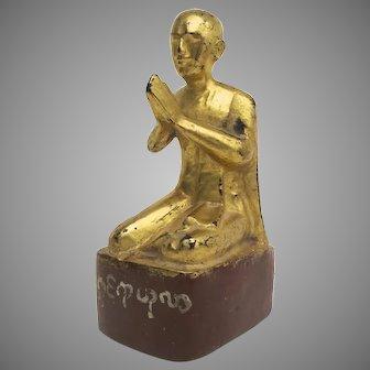 Vintage Older Century Gilt Carved Figure of a Praying Monk Thailand Buddah
