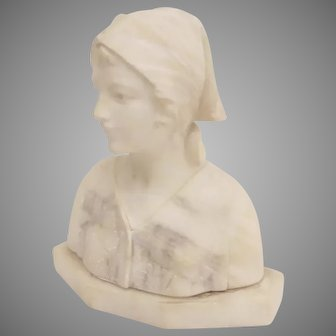 1900's Marble Bust Young Woman Made in Italy