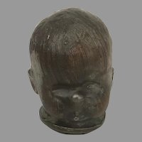 Vintage Copper Baby Doll Head Mold Industrial