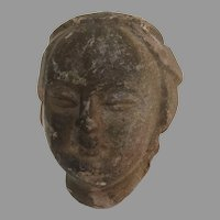 Red Sand Stone Asian Carved Head Fragment