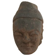 Carved Red Sand Stone Asian Fragment Head Man Cap