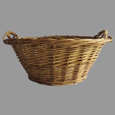 Vintage Child's Toy Small Wicker Laundry Basket Country