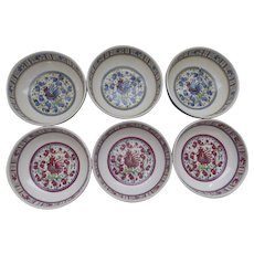 Set of SIX Vintage Le Cadeaux Rooster Red Blue Melamine Soup Cereal Bowls