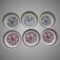 Set of SIX Vintage Le Cadeaux Rooster Red Blue Melamine Soup Cereal Bowls