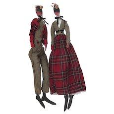 Vintage Elongated Whimsical Cloth Folk Art Dolls Bird Heads Human Clothes