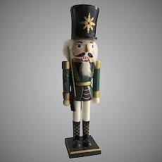 Vintage Painted Nutcracker Soldier Green Uniform