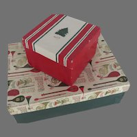 Two Vintage Mid Century Christmas Boxes from Department Store Stix, Baer & Fuller and Hahne