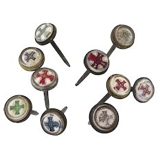 Group of Ten (10) Glass Picture Painting Nail Covers Matese Cross c 1880